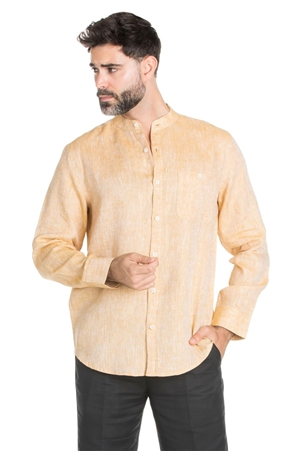 Wholesale Clothing Men's Banded Neck 100% Linen Long Sleeve Shirt -M-1850-A