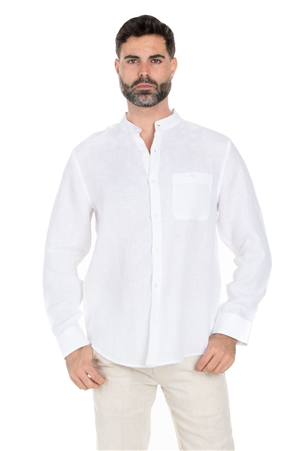 Wholesale Clothing Men's Banded Neck 100% Linen Long Sleeve Shirt -M-1850-B