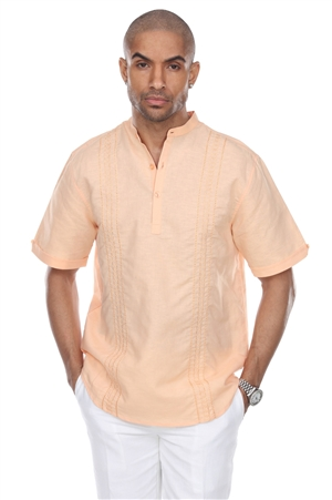 Wholesale Clothing Men's Beach Resort Wear Embroidered Linen Mandarin Collar Short Sleeve Shirt  -M-1853-B