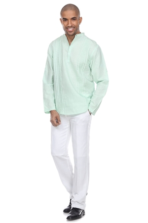 Wholesale Clothing Men's Beach Resort Wear Embroidered Linen Mandarin Collar Long Sleeve Shirt  -M-1854-A