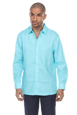 Wholesale Clothing Men's Beach Resort Wear Embroidered Linen Long Sleeve Shirt  -M-1857-A