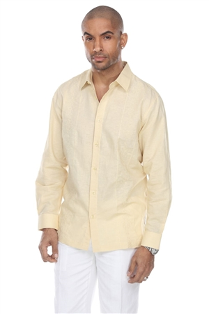 Wholesale Clothing Men's Beach Resort Wear Embroidered Linen Long Sleeve Shirt  -M-1857-B