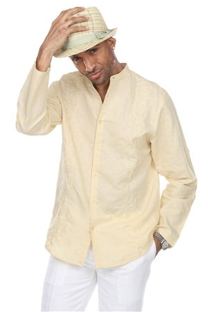 Wholesale Clothing Men's Beach Resort Wear Embroidered Linen Mandarin Collar Long Sleeve Shirt  -M-1859-A