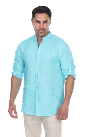 Wholesale Clothing Men's Beach Resort Wear Embroidered Linen Mandarin Collar Long Sleeve Shirt  -M-1859-B