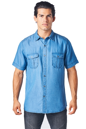 Mojito Mens Short Sleeve Tencel Denim Shirt