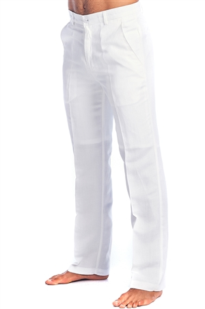 Men's Slim Fit Resort Lounge Casual Linen Flat front Dress Pants