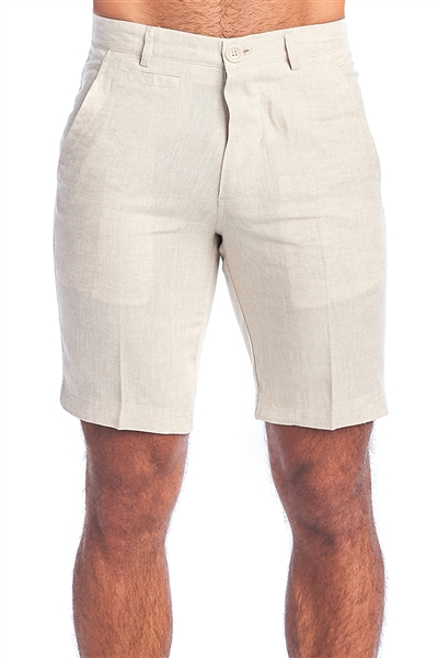 Men's Resort Lounge Casual 100% Linen Flat front Dress Shorts