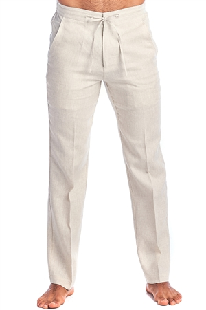 Men's Resort Lounge Casual 100% Linen Drawstring Dress Pants