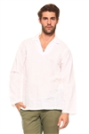 Wholesale Clothing Men's Stylish Embroidered Long Sleeve Collared V-neck  Linen Beach Shirt -M-5195-B
