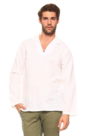 Wholesale Clothing Men's Stylish Embroidered Long Sleeve Collard V-neck Lounge Linen Shirt -M-5195-B