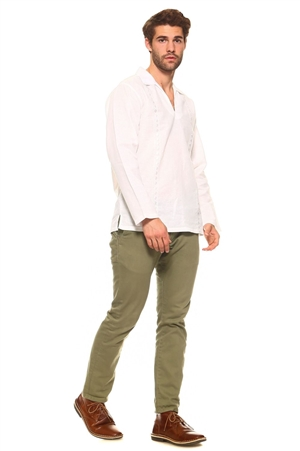 Wholesale Clothing Big and Tall Men's Stylish Embroidered Long Sleeve Collard V-neck Lounge Linen Shirt -M-5195-C