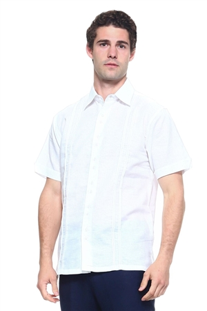 Wholesale Clothing Men's Linen Blend Embroidered Front Design Button Down Short Sleeve Shirt -M-5198-A