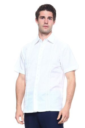 Wholesale Clothing Men's Linen Blend Embroidered Front Design Button Down Short Sleeve Shirt -M-5198-B