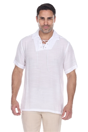 Wholesale Clothing Men's Casual Beachwear Lace Up Short Sleeve Beach Shirt -M-5207-A