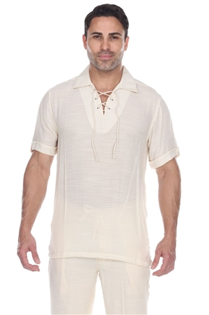 Wholesale Clothing Men's Casual Beachwear Lace Up Short Sleeve Beach Shirt -M-5207-B