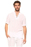 Wholesale Clothing Men's Big & Tall Casual Lounge Lace Up Short Sleeve Beach Shirt  -M-5207-C