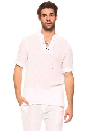 Wholesale Clothing Men's Big & Tall Casual Beachwear Lace Up Short Sleeve Beach Shirt  -M-5207-C