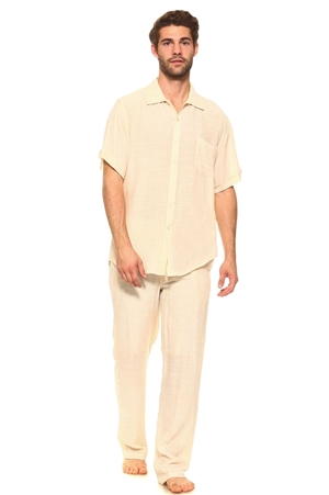 Wholesale Clothing Men's Resort Lounge Button Down Short Sleeve Shirt and Drawstring Pant Set -M-5234-5208-SET-A