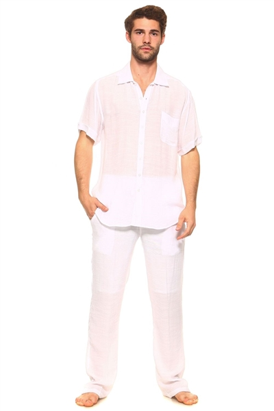 Wholesale Clothing Men's Resort Lounge Button Down Short Sleeve Shirt and Drawstring Pant Set -M-5234-5208-SET-B