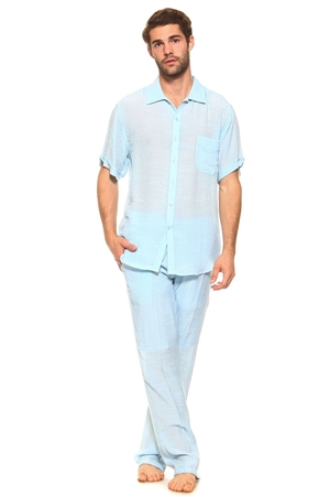 Wholesale Clothing Big and Tall Men's Resort Lounge Button Down Shirt and Drawstring Pant Set -M-5234-5208-SET-C