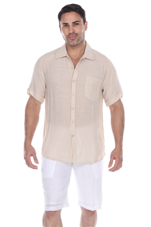 Wholesale Clothing Men's Beachwear Button Down Short Sleeve Shirt M-5234-B