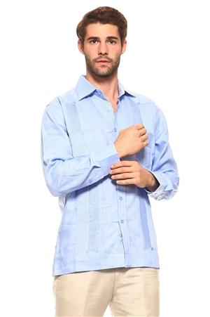 Wholesale Clothing Men's Guayabera Shirt Button Down Long Sleeve with Gingham Print Accent Trim Linen Chacabana -M-5240-A