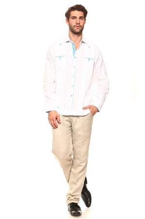 Wholesale Clothing Men's Guayabera Shirt Button Down Long Sleeve with Gingham Print Accent Trim Linen Chacabana -M-5240-B