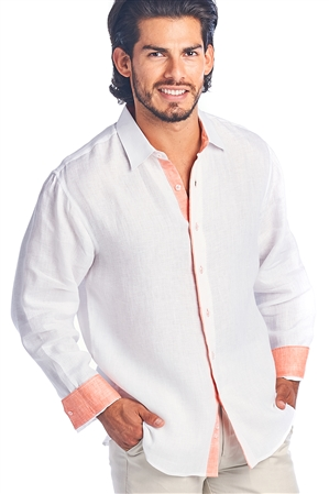 Men's 2 Tone Button Down Natural Linen Shirt Long Sleeve -M-5246-B