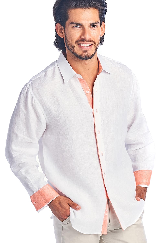 Men Natural Linen Shirt Long Sleeve
