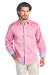 Men's Natural Linen 2 Tone Button Down Shirt Long Sleeve -M-5247-A