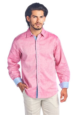 Men's Natural Linen 2 Tone Button Down Shirt Long Sleeve -M-5247-B
