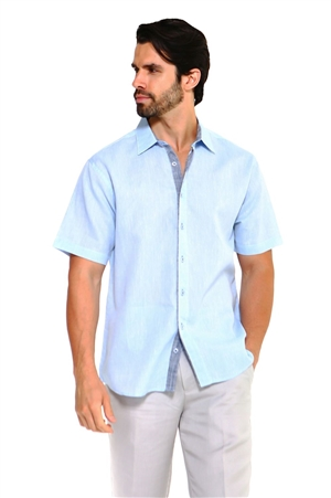 Wholesale Clothing Men's Linen Blend Button Down Lounge Short Sleeve Shirt with Two Tone Contrast  -M-5248-A