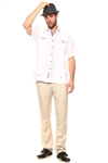 Wholesale Clothing Men's Guayabera Shirt Button Down Short Sleeve with Gingham Print Accent Trim Linen Chacabana -M-5251-A