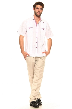Wholesale Clothing Men's Guayabera Shirt Button Down Short Sleeve with Gingham Print Accent Trim Linen Chacabana -M-5251-B
