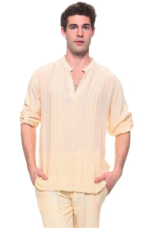 Wholesale Clothing Men's Resort Lounge Embroidery Accented Banded Neck Long Sleeve Shirt -M-5260-B