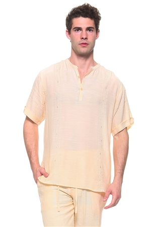 Wholesale Clothing Men's Resort Lounge Embroidery Accented Banded Neck Short Sleeve Shirt -M-5261-A