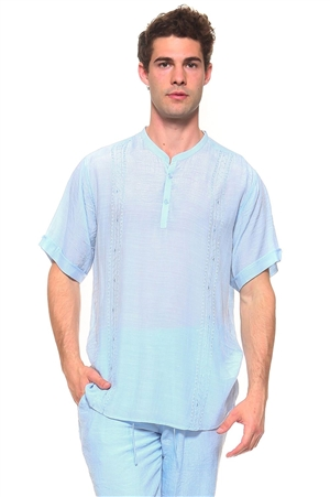 Wholesale Clothing Men's Resort Lounge Embroidery Accented Banded Neck Short Sleeve Shirt -M-5261-B