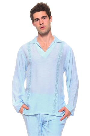 Wholesale Clothing Men's Resort Lounge Embroidery Accented Collared V Neck Long Sleeve Shirt -M-5263-A