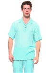 Wholesale Clothing Men's Beachwear Lace Up Collared Short Sleeve Shirt -M-5264-A