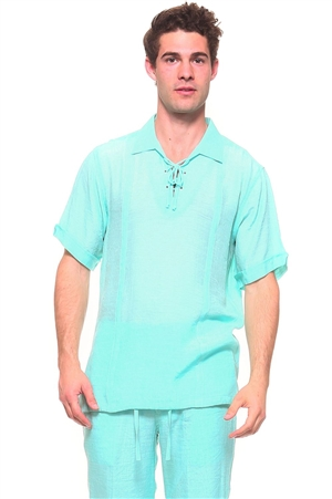 Wholesale Clothing Men's Resort Lounge Lace Up Collared Short Sleeve Shirt -M-5264-A