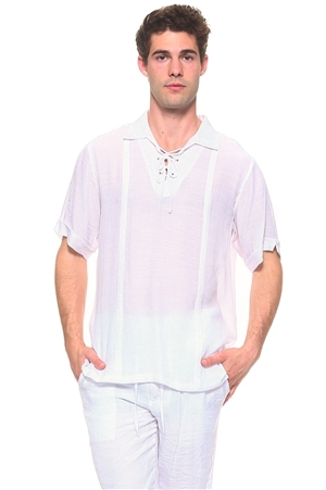 Wholesale Clothing Men's Resort Lounge Lace Up Collared Short Sleeve Shirt -M-5264-B