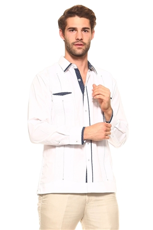 Wholesale Clothing Men's Cotton Blend Guayabera Shirt Button Down Long Sleeve with Gingham Print Accent Trim Chacabana -M-5265-A