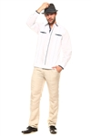 Wholesale Clothing Men'sCotton Blend Guayabera Shirt Button Down Long Sleeve with Gingham Print Accent Trim Chacabana -M-5265-B