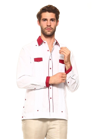 Wholesale Clothing Men's Cotton Blend Guayabera Shirt Button Down Long Sleeve with Gingham Print Accent Trim Chacabana -M-5266-A
