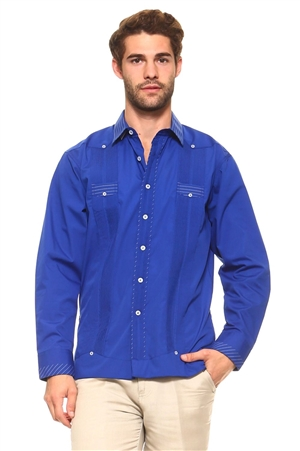 Wholesale Clothing Men's Cotton Blend Guayabera Shirt Button Down Long Sleeve with Gingham Print Accent Trim Chacabana -M-5266-B