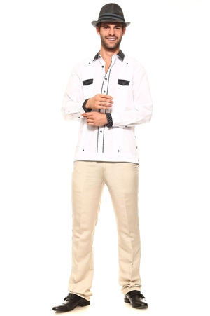 Wholesale Clothing Men's Big and Tall Cotton Blend Guayabera Shirt Button Down Long Sleeve with Gingham Print Accent Trim Chacabana -M-5266-C
