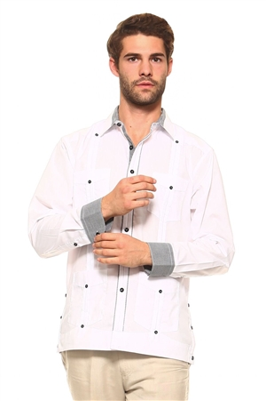 Wholesale Clothing Men's Cotton Blend Guayabera Shirt Button Down Long Sleeve with Gingham Print Accent Trim Chacabana -M-5267-A