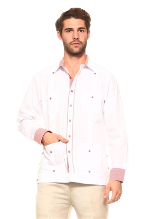 Wholesale Clothing Men's Cotton Blend Guayabera Shirt Button Down Long Sleeve with Gingham Print Accent Trim Chacabana -M-5267-B