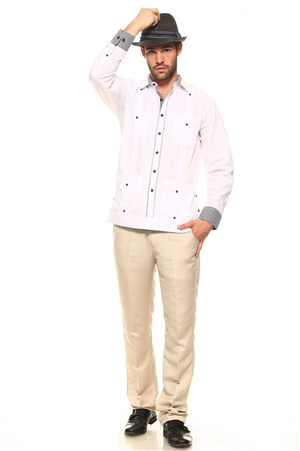 Wholesale Clothing Men's Big and Tall Cotton Blend Guayabera Shirt Button Down Long Sleeve with Gingham Print Accent Trim Chacabana -M-5267-C