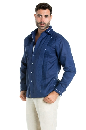 Wholesale Clothing Men's Guayabera Linen Shirt Button Down Long Sleeve with Stripe Trim Collar and Cuff Chacabana -M-5269-A